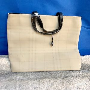 Burberry pvc, nylon and leather bag small tote